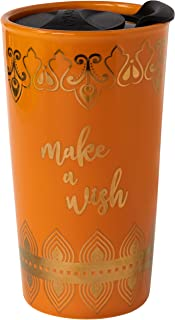 Disney Aladdin Ceramic Travel Tumbler Mug - Make A Wish and Genie Lamp Arabian Design - 16 oz