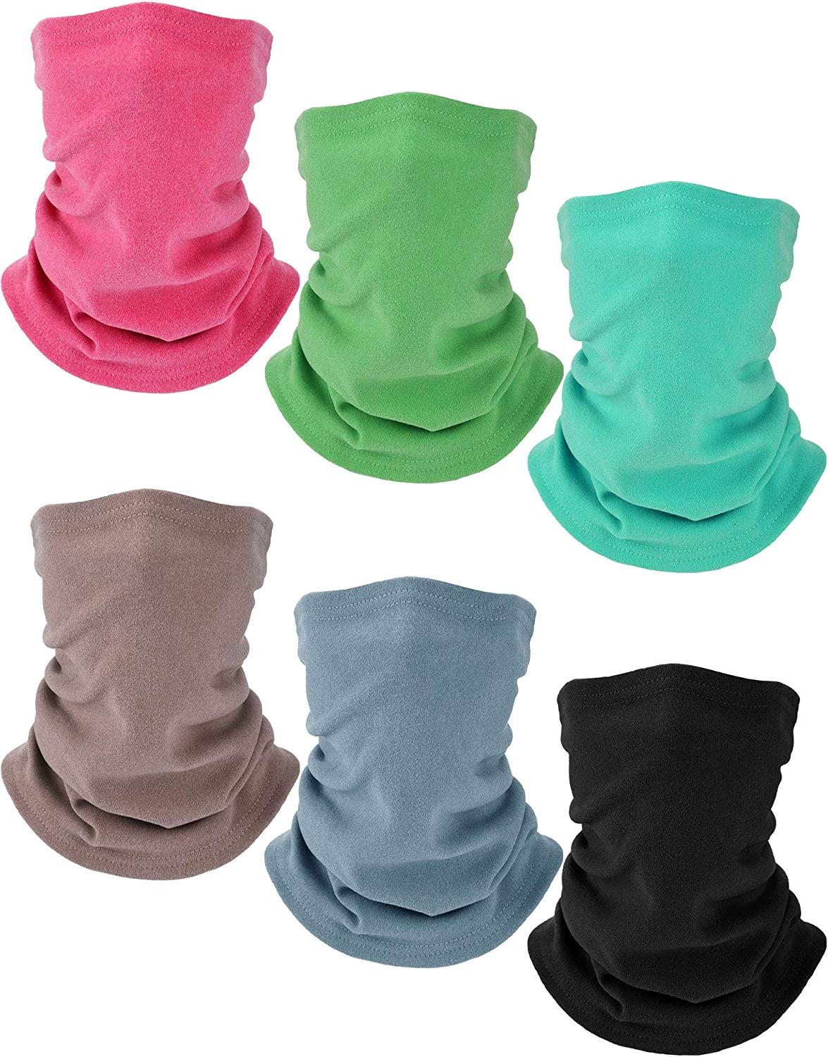 Boyiee 6 Pieces Kids Fleece Neck Gaiter Warmer Ski Tube Scarf Cold Weather Face Cover (Pink, Green, Glaucous, Turquoise, Light Gray, Gray)