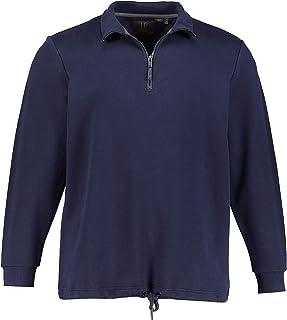 JP 1880 Homme Grandes Tailles Sweat col Montant avec Zip, Pur Coton Bleu Marine foncé 5XL 716915 76-5XL