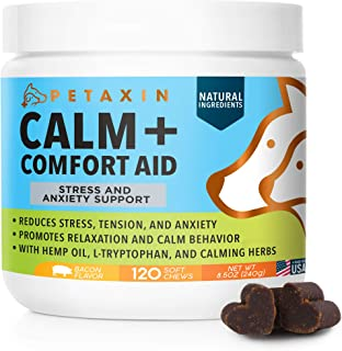 Petaxin Calming Treats for Dogs - Stress & Anxiety Relief for Dogs - Supports Calm & Relaxed Behavior - Chamomile, Ginger,...