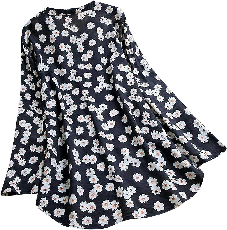ABABC Women's Summer Fashion Cotton Linen Print Top T-Shirt Casual V-Neck Button Short Sleeve Sweatshirt Tops Blouse