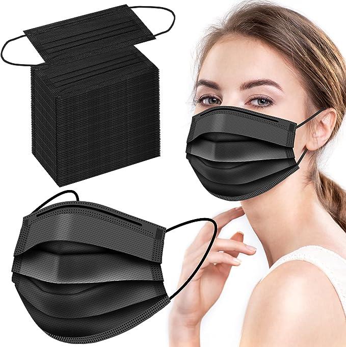 100 Pcs Black Disposable Face Masks, 3 Layer Black Face Masks, Breathable Disposable Masks Non-Woven, Black Masks Disposable 100 Pack for Adults