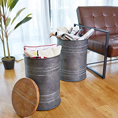 glitzhome Rustic Storage Ottoman Seat Stool, Farmhouse End Table, Galvanized Metal Accent Side Table Toy Box Bin with Round W