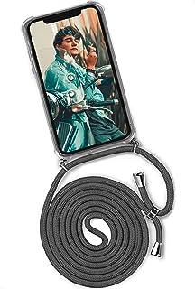 ONEFLOW Twist Case kompatibel mit iPhone 12/12 Pro   Handykette, Handyhülle mit Band zum Umhängen, Hülle mit Kette abnehmbar, Dunkelgrau