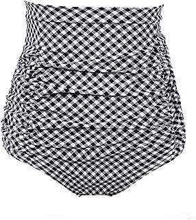 36b4bd4fd0 COCOPEAR Women s Ruched High Waisted Bikini Bottom Retro Vintage Swim Short  Tankinis ...