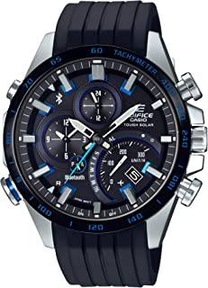 Men's Edifice Stainless Steel Quartz Watch with Rubber Strap, Black, 22 (Model: EQB-501XBR-1ACF)