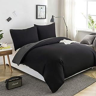 Housse de Couette Réversible 200x200 / 65x65x2 CM Noir + Gris Foncé Parure de Lit Bicolore pour 2 Personnes avec Fermeture...