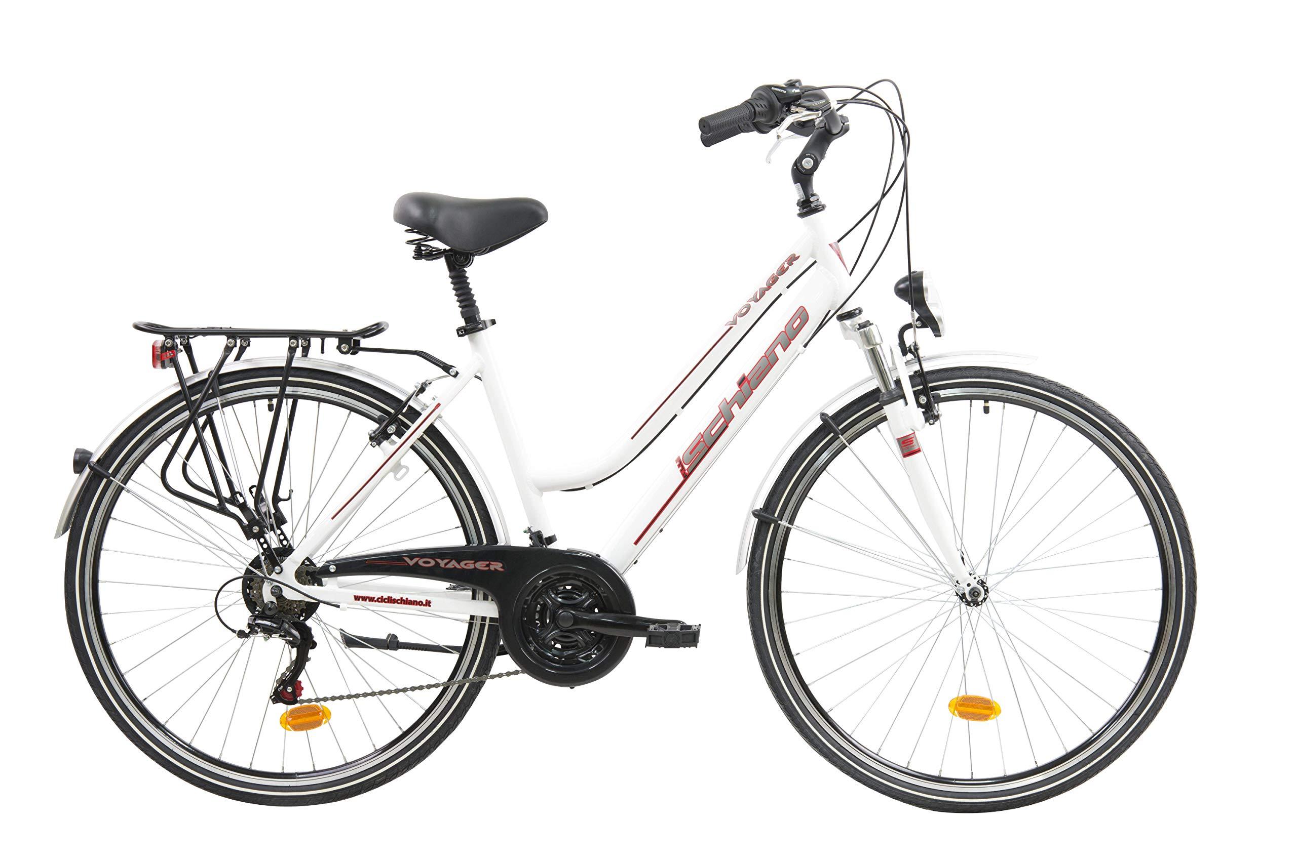 F.lli Schiano Voyager Bicicleta Trekking, Womens, Blanco-Rojo, 28: Amazon.es: Deportes y aire libre