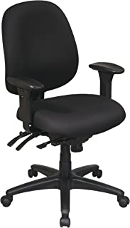Office Star Mid Back Multi Function Chair with Seat Slider, Ratchet Back Height Adjustment and Adjustable PU Padded Arms