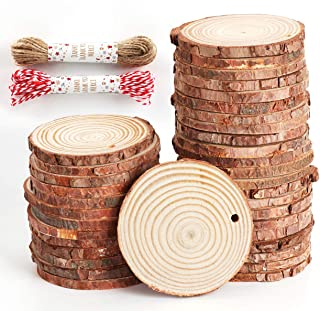 """Unfinished Wood Slices 50 Pcs 2.4""""-2.8"""" Natural Wood Rounds with Pre-drilled Hole and 66 Feet Twine String for Christmas Crafts Ornaments Party Wedding Decoration"""