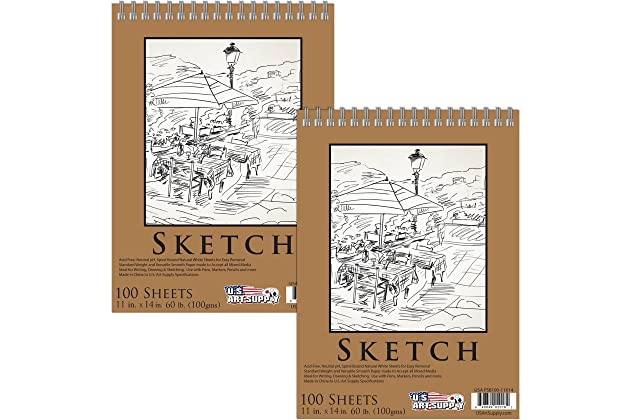 """5.5/"""" x 8.5/"""" Spiral Bound Sketch Pad 100 Sheets 60 Pound 100gsm Pack of 2 Pads"""