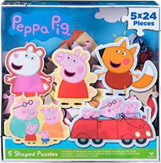 Peppa Pig 5 Shape Puzzles in Clear Lid Box (24 Pieces)