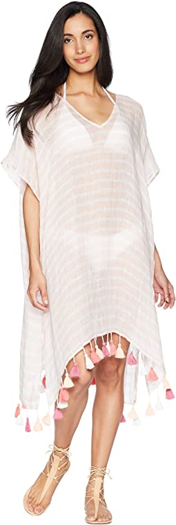 Bali Hai Linen Stripe Kaftan Cover-Up