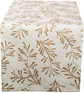 """DII 100% Cotton, Machine Washable, Printed Metallic Table Runner For Parties, Christmas & Holidays - 14x108"""", Metallic Hol..."""
