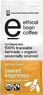 ETHICAL BEAN Fairtrade Organic Coffee, Sweet Espresso Medium Dark Roast, Whole Bean Coffee - 100% Arabica Coffee (12 oz Bag)