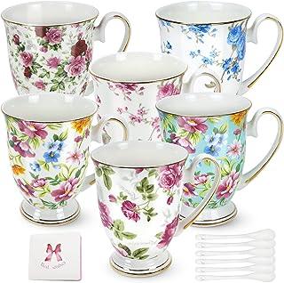Bone China Mug,Set of 6,Bone Porcelain Classic Breakfast Cup,Euro Style Art Tea Cup Coffee Mug,Coffee Mugs, Floral Mugs, T...