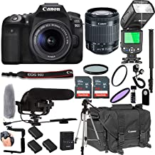 $1349 Get Canon EOS 90D with 18-55mm F/3.5-5.6 is STM Lens + 128GB Memory + Canon Deluxe Camera Bag + Pro Battery Bundle + Microphone + TTL Speed Light + Pro Filters,(22pc Bundle)