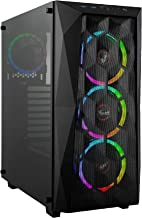 Rosewill ATX Mid Tower Gaming PC Computer Case with Tempered Glass/Steel/Mesh, Includes 4 x 120mm RGB LED Fans with 10 Modes, 240mm AIO Liquid Cooler and 330mm VGA Support - Spectra X