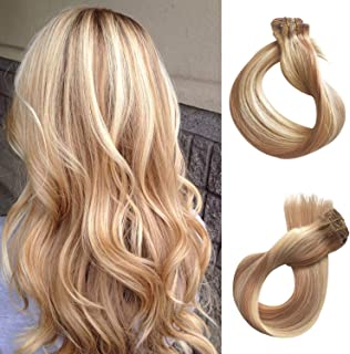 Clip in Human Hair Extensions 70g 7pcs Silky Straight Highlight Blonde Remy Human Hair Extension 18 Inch 27/613 Strawberry Blonde to Bleach Blonde