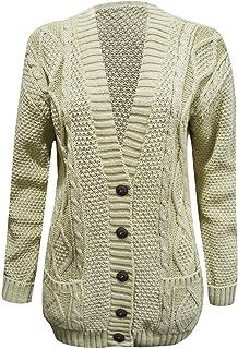 Cardigan lungo da donna a maniche lunghe con bottoni a maglia