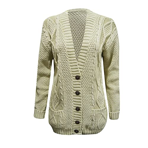 25989c5525 RIDDLED WITH STYLE Women s Ladies Long Sleeve Button Top Chunky Aran Cable  Knitted Grandad Cardigan