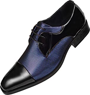 Mens Draper Shiny Metallic Satin Patent Two-Tone Cap Toe Lace up Oxford Dress Shoe Trimmed with Black Patent