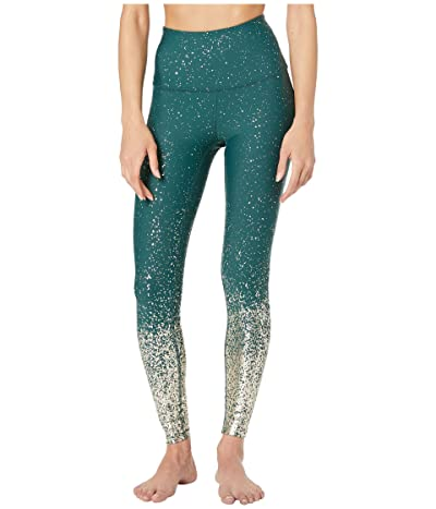 Beyond Yoga Alloy Ombre High-Waisted Midi Leggings (Hunter Green/Antique Gold Speckle) Women