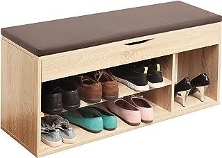 comprar comparacion RICOO WM034-ES-B, Banco Zapatero, 104x49x30cm, Armario Interior con Asiento, Organizador Zapatos, Mueble recibidor, Perche...