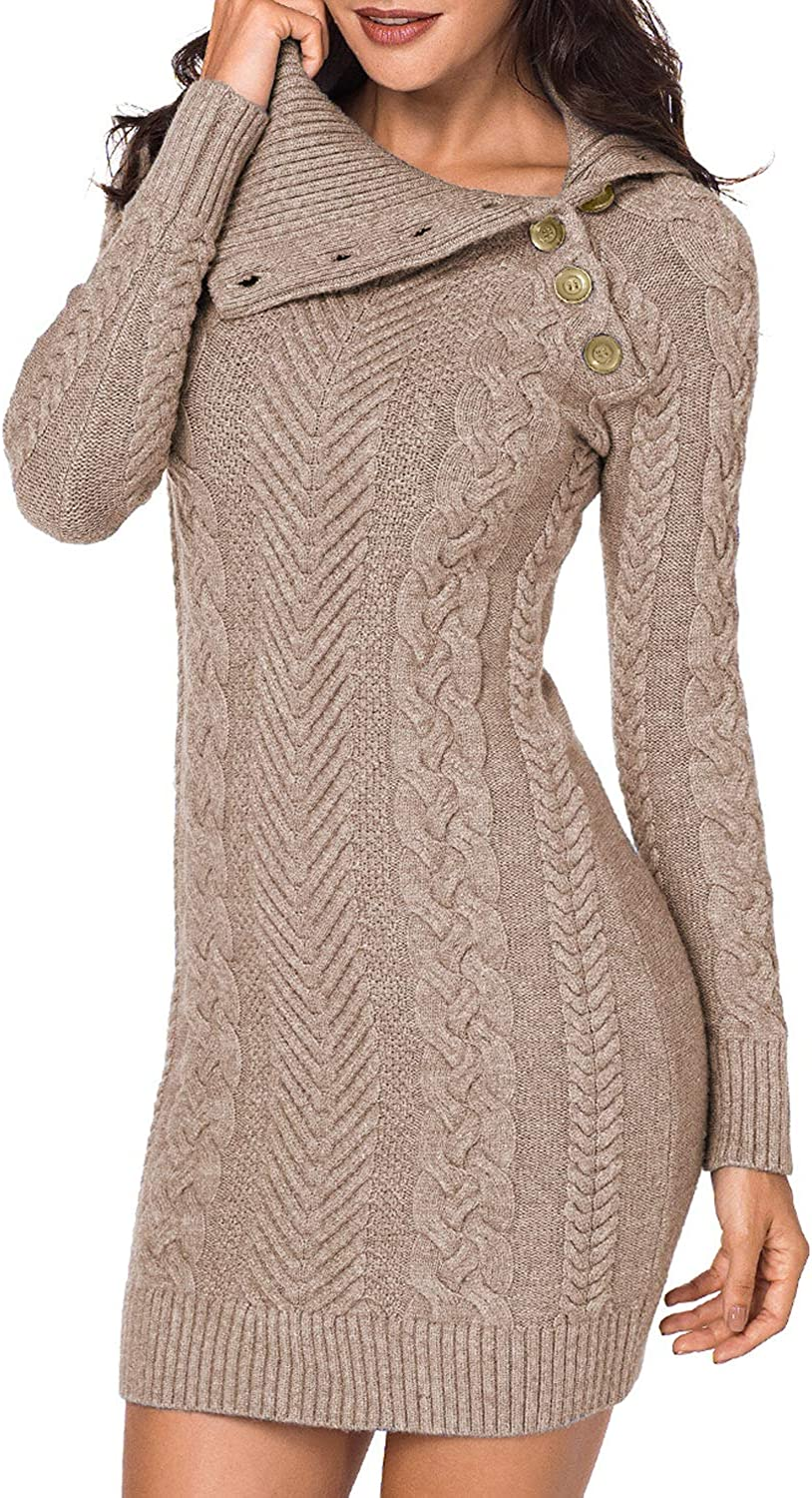 Sidefeel Women Asymmetric Buttoned Cable Sweat Fresno Mall Knit 55% OFF Bodycon Mini