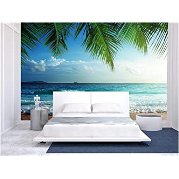 wall26 - Sunset on Seychelles Beach - Removable Wall Mural   Self-Adhesive Large Wallpaper - 66x96 inches