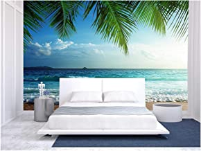 wall26 - Sunset on Seychelles Beach - Removable Wall Mural | Self-Adhesive Large Wallpaper - 100x144 inches