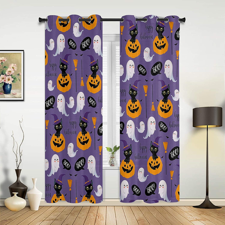 Halloween Window Curtains Home Decor Pumpkin San Antonio Mall Cute Miami Mall Cartoon Cat Gh