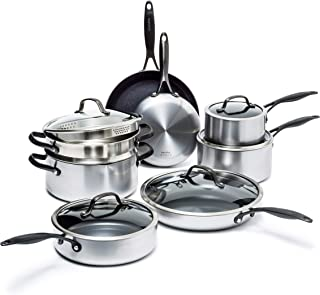 GreenPan Venice Pro Noir Stainless Steel Healthy Ceramic Nonstick, Cookware Pots and Pans Set, 13-Piece, Silver