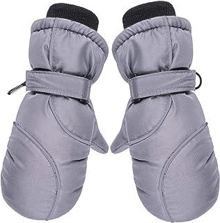 Snow Mittens Winter Ski Mittens Unisex Gloves Kids Waterproof Warm Cotton-lined Gloves (Grey)