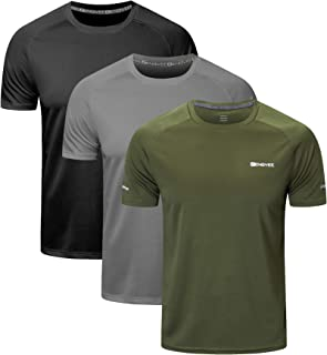 HUAKANG 3 Pack T Shirts Men Breathable Sport Shirts Men Cool Dry Running Tops Short Sleeve Gym Tops for Men