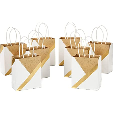 """Hallmark 6"""" Small Paper Gift Bags (Pack of 8 - White and Kraft) for Christmas, Birthdays, Weddings, Graduations, Baby Showers, Bridal Showers, Care Packages, May Day"""