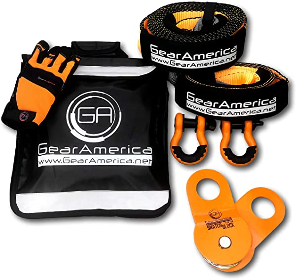 GearAmerica Off Road Recovery Kit Tow Strap Tree Saver Heavy Duty Snatch Block Pulley Orange D Ring Shackles Winch Line Dampener Bag Recovery Gloves Ultimate 4x4 Winching Accessories