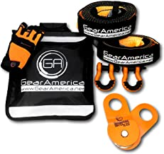 GearAmerica Off-Road Recovery Kit | Tow Strap + Tree Saver + Heavy Duty Snatch Block Pulley + Orange D-Ring Shackles + Winch Line Dampener Bag + Recovery Gloves | Ultimate 4x4 Winching Accessories