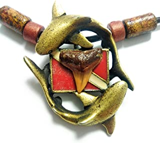 New Antique Bronze Diver's Down Flag Necklace with Genuine Prehistoric Megalodon Fossil Shark Tooth