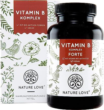 NATURE LOVE® Vitamin B Komplex Forte - 180 Kapseln (6 Monate). Bis zu 10-fach höher dosiert als andere Vitamin B Komplexe. Premium: mit bio-aktiven Vitamin B Formen, dadurch hohe Bioverfügbarkeit
