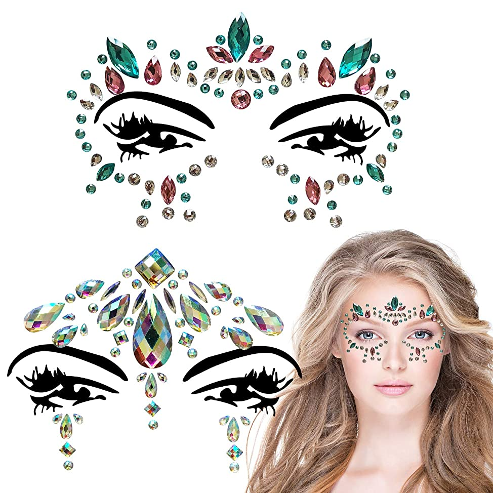 2 Sets Rhinestone Mermaid Face Jewels Tattoo Crystal Tears Gem Stones Bindi Temporary Stickers Body Glitter (A style) ktoncjph585