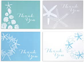 Shell and Sea Star Thank You Cards with Envelopes, Beautifully textured heavy felt 92 lb card stock, 8 Count, Coastal Holiday Design, Size A1, Made in USA, Handcrafted in Sunny California