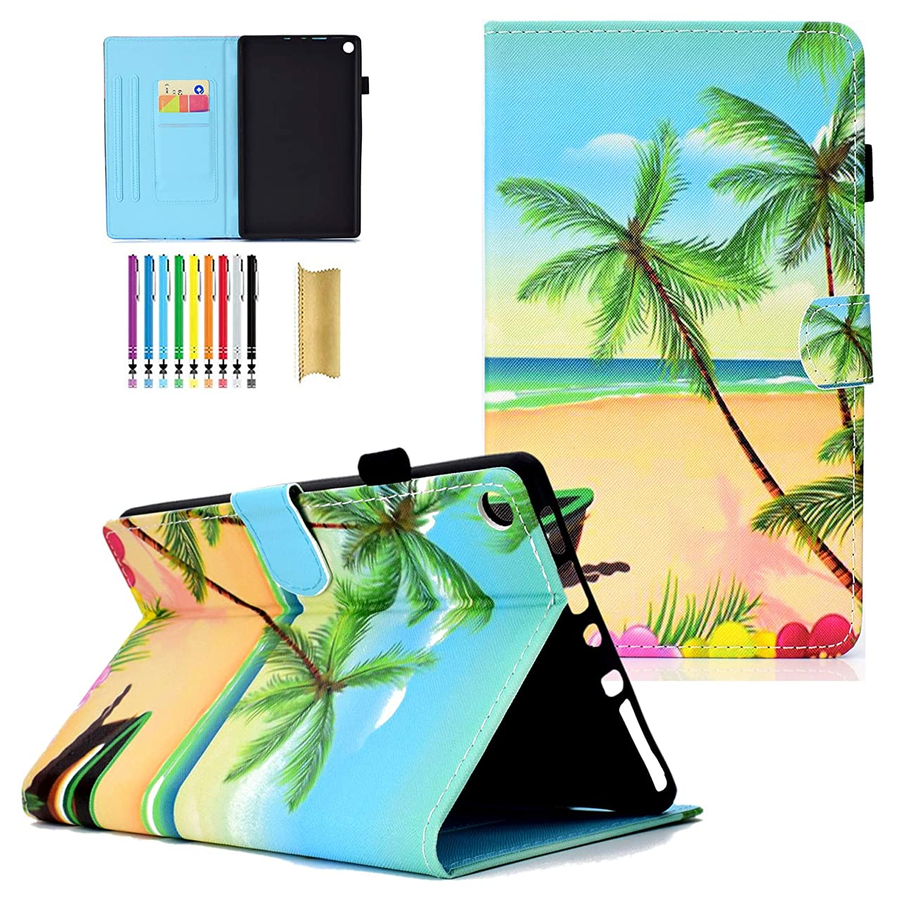 LittleMax Kindle Fire HD 8 Case,PU Leather Case Flip Folio Stand Auto Wake/Sleep Cover for Amazon Kindle Fire HD 8 7th Gen & 6th Gen -#4 Beach