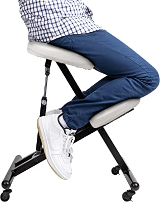 Mind Reader Ergonomic Kneeling, White Stool, Pneumatic Adjustable Cushioned Chair Angled for Comfort, Posture Protecting, Supports 220 lbs, 100 KG, One Size