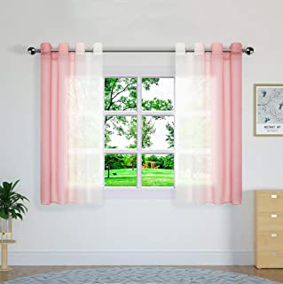 Yao Yue Sheer Curtains Colourful Modern Light Filtering Curtains for Living Room,Grommet,132x160cm(52x63in),White and Pin...