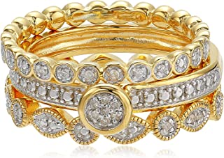 18k Gold Plated Sterling Silver Diamond Stacking Ring Set (1/10cttw, I-J Color, I2-I3 Clarity)