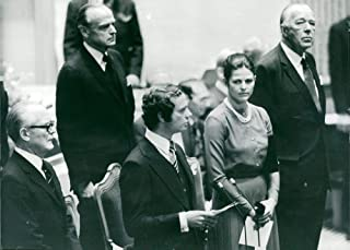 Vintage photo of Talman Henry Allard, King Carl XVI Gustaf, Queen Silvia and Prince Bertil Sam behind them Gunnar Lagergren at the opening of the Riksdag