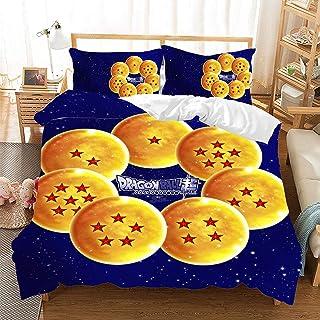 Parure de lit imprimée 3D Dragonball Z - Housse de couette et taies d'oreiller - Motif Goku - Pour garçon - En microfibre...