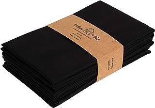 Urban Villa Kitchen Towels, Premium Quality,Solid Satin Weave 100% Cotton Dish Towels, Ultra Soft (Size: 20X30 Inch), Blac...