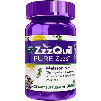 ZzzQuil Melatonin Gummies, Chamomile & Lavender, 48 ct, Wildberry Vanilla